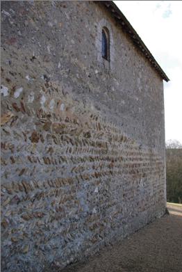 Mur Nord de l'église Saint Christophe - perspective